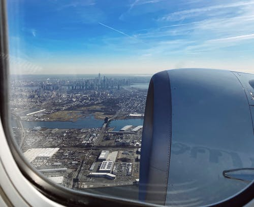 Free stock photo of airplane, airplane view, manhattan, manhattan view