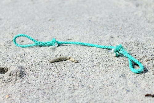 Free stock photo of beach sand, old rope, turquoise