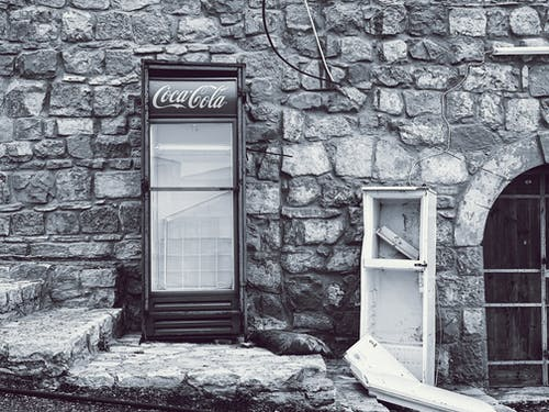 Free stock photo of black and white, coca cola, fridge, lost