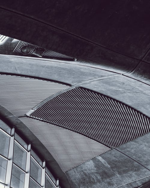 Free stock photo of airport, architecture, black and white, curve