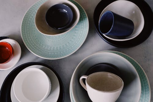 Blue Ceramic Mug on Saucer