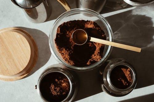 Coffee Powder in Glass Bowls