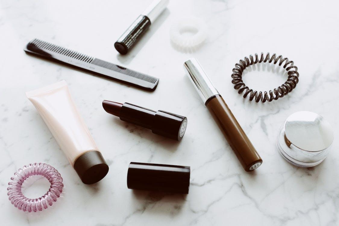 Set of various makeup supplies