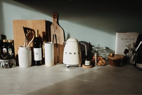 Kitchenware on counter top at home