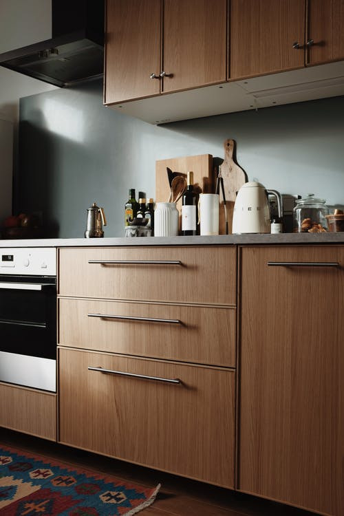 White and Brown Wooden Kitchen Cabinet