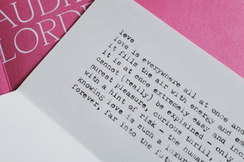 Typewriting text on paper lying over book