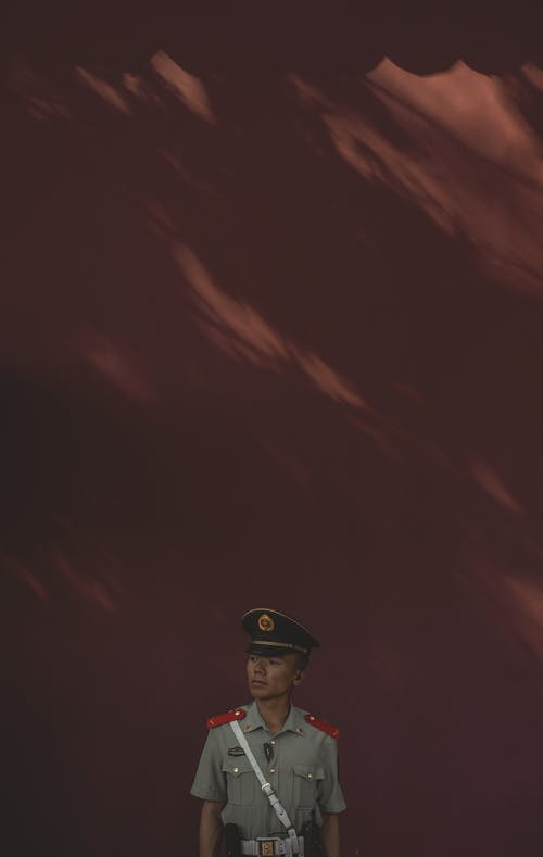 From above of slim Asian male soldier in military cap with shoulder straps and belt looking away while standing near brown wall with wavy lines