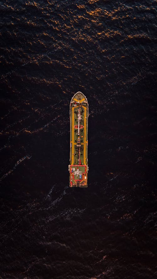 Scenery view of ship sailing in ocean