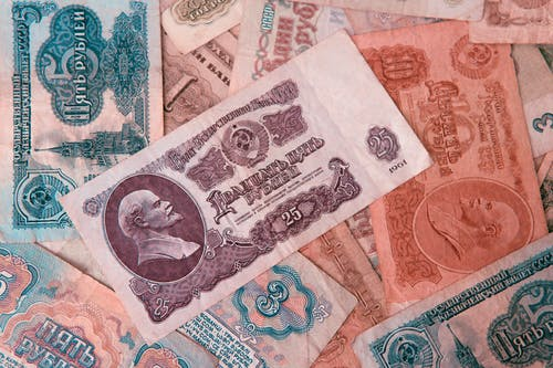 Heap of old multicolored USSR banknotes