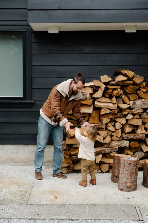 Little girl helping father with firewood
