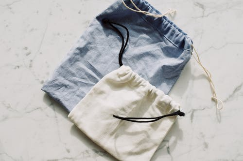Blue And White Drawstring Bags