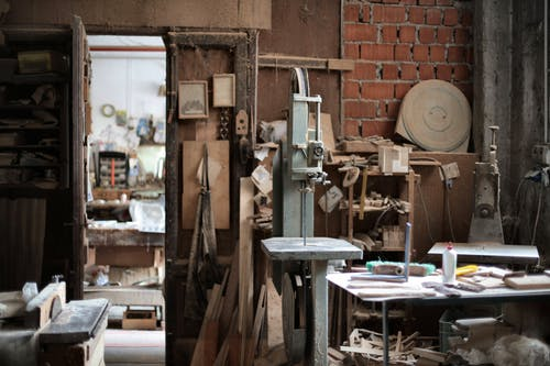 Interior of messy old workshop