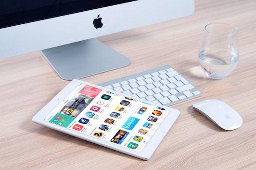 Free stock photo of apple, desk, office, internet