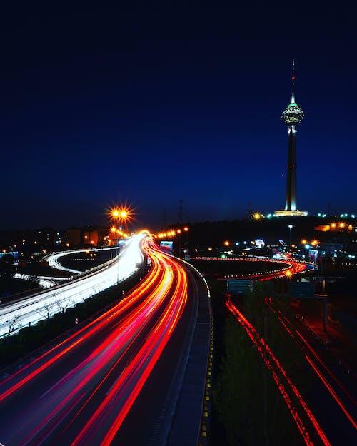 Kostnadsfri bild av lång exponering, lätta strimmor, stadens centrum, teheran