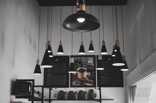 Black Pendant Lamps Turned On