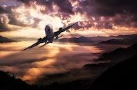 flight, sunset, flying