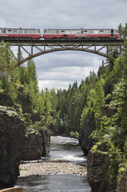 Red Bridge over River