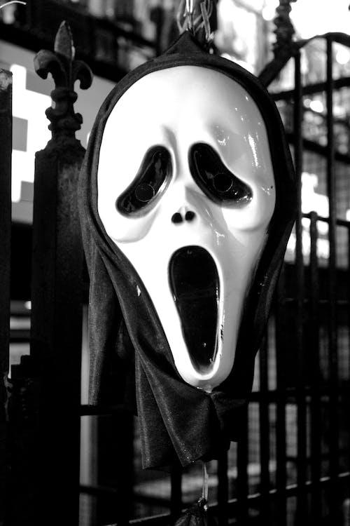 Free stock photo of black mask, blackandwhite, hangingmask, horor