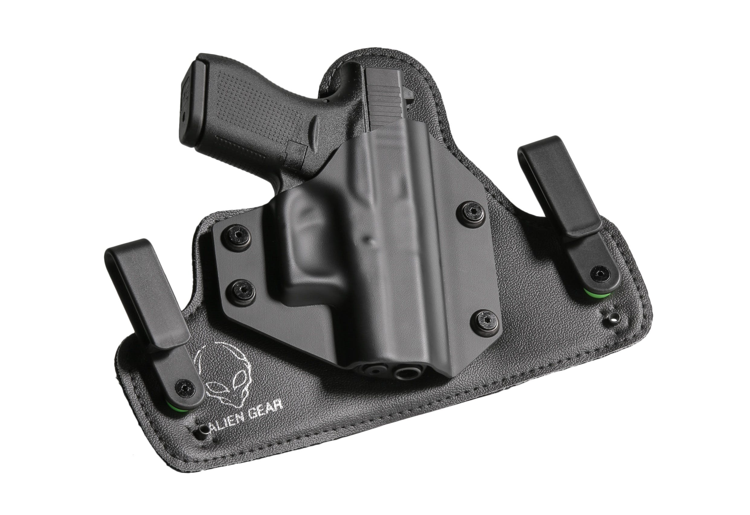 Black Holster With Handgun