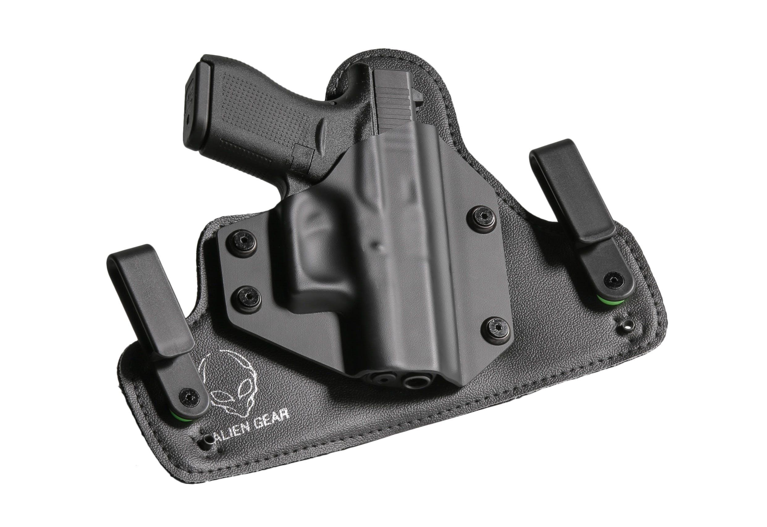 Black Holster With Handgun