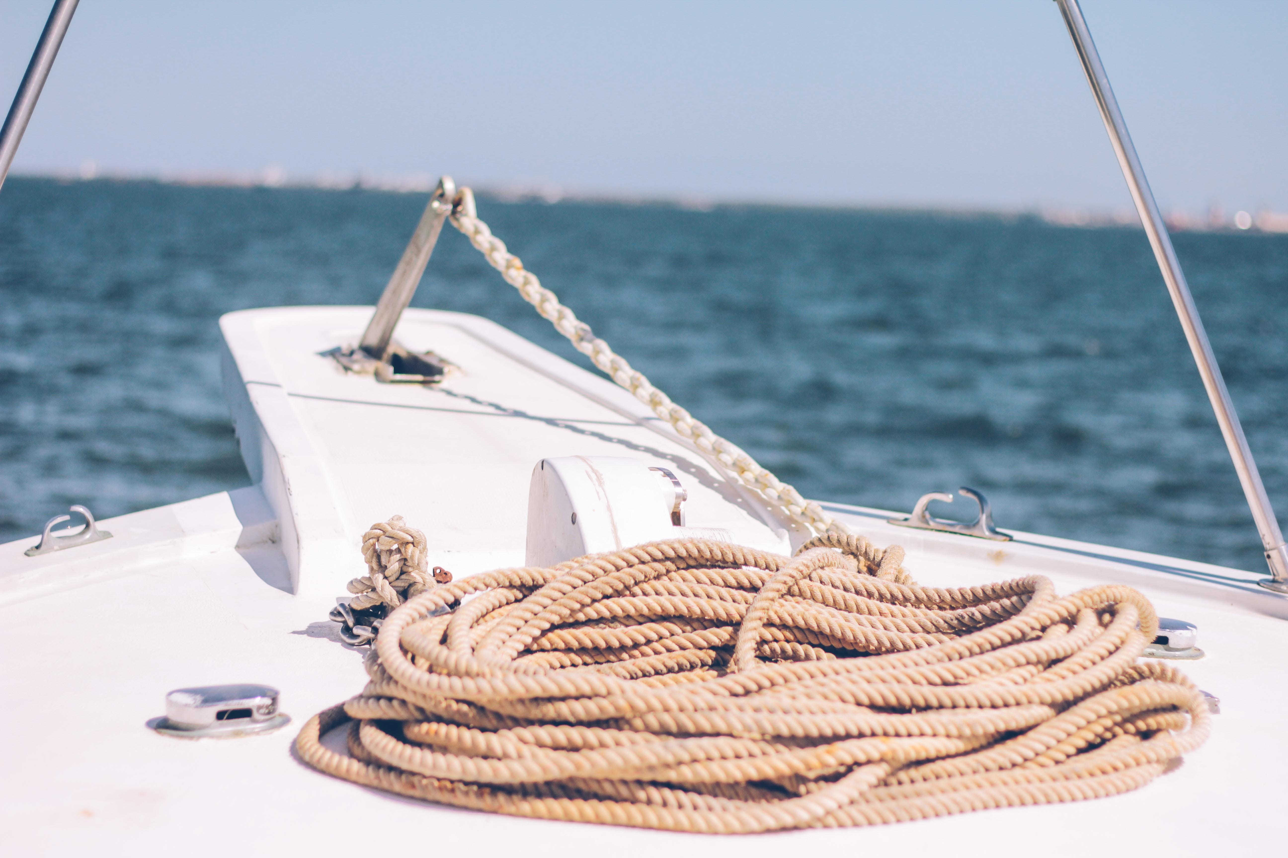 Free stock photo of beach, blue, boat rope, nostalgic