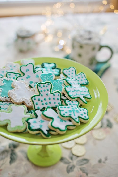 Green and Blue Clover Shaped Cookies