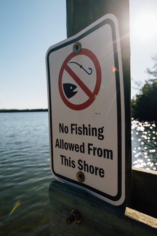 Information metal sign hanging at lake shore