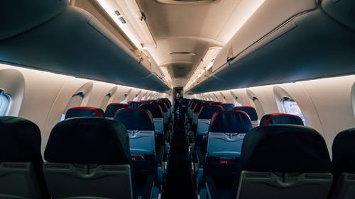 Inside of empty aircraft before departure