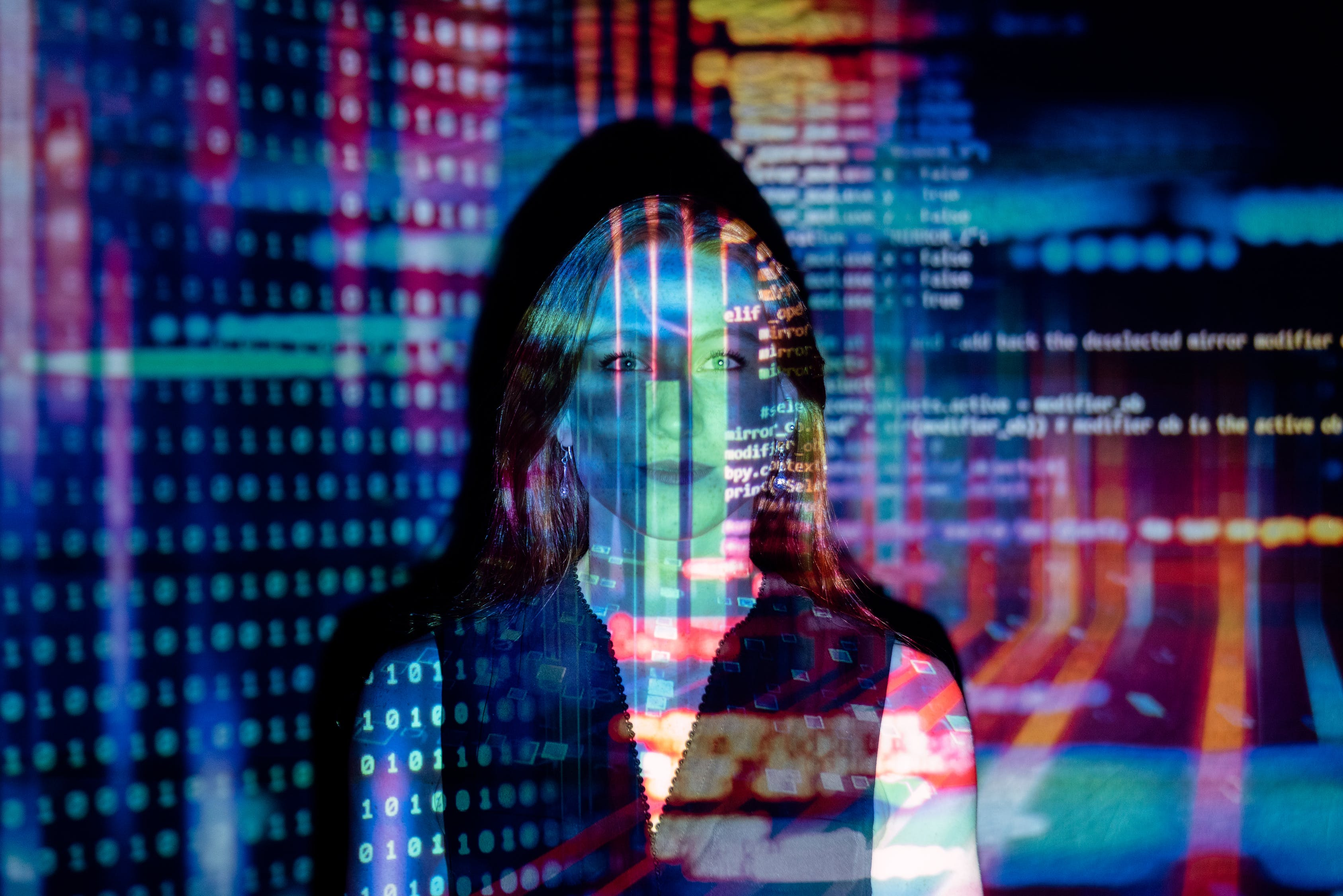 Code-Projected-Over-Woman