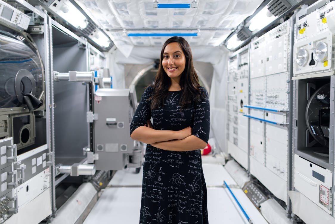 Female Engineer in Space Station