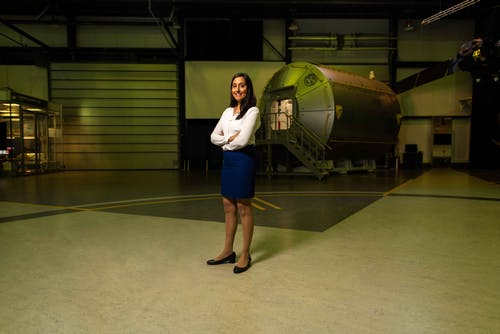 Female Space Operations Engineer in Hangar