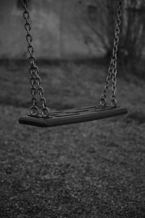 Grayscale Photo of Swing on Grass Field