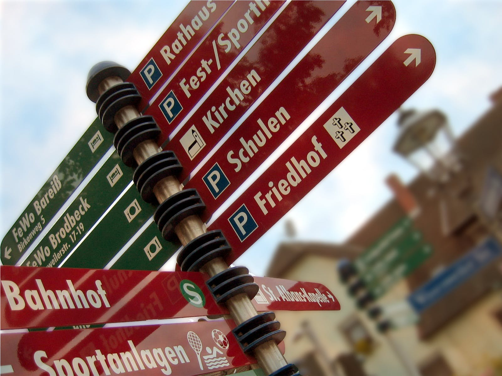 Red and Black Street Signages