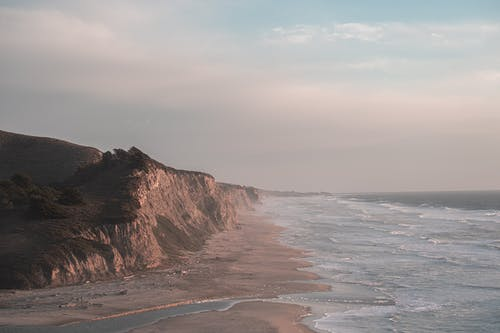 Majestic remote rocky coast of ocean