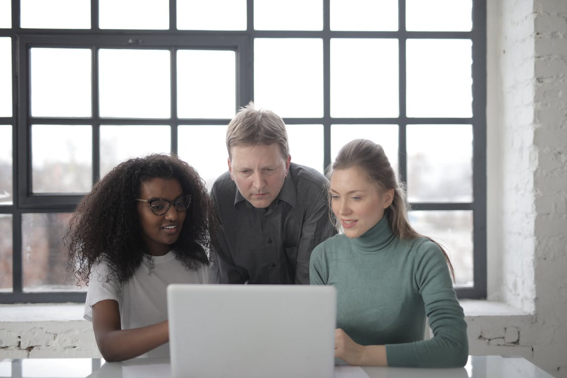 Positive focused multiracial colleagues read information from laptop while teamwork on project in office with industrial interior against big window at daytime