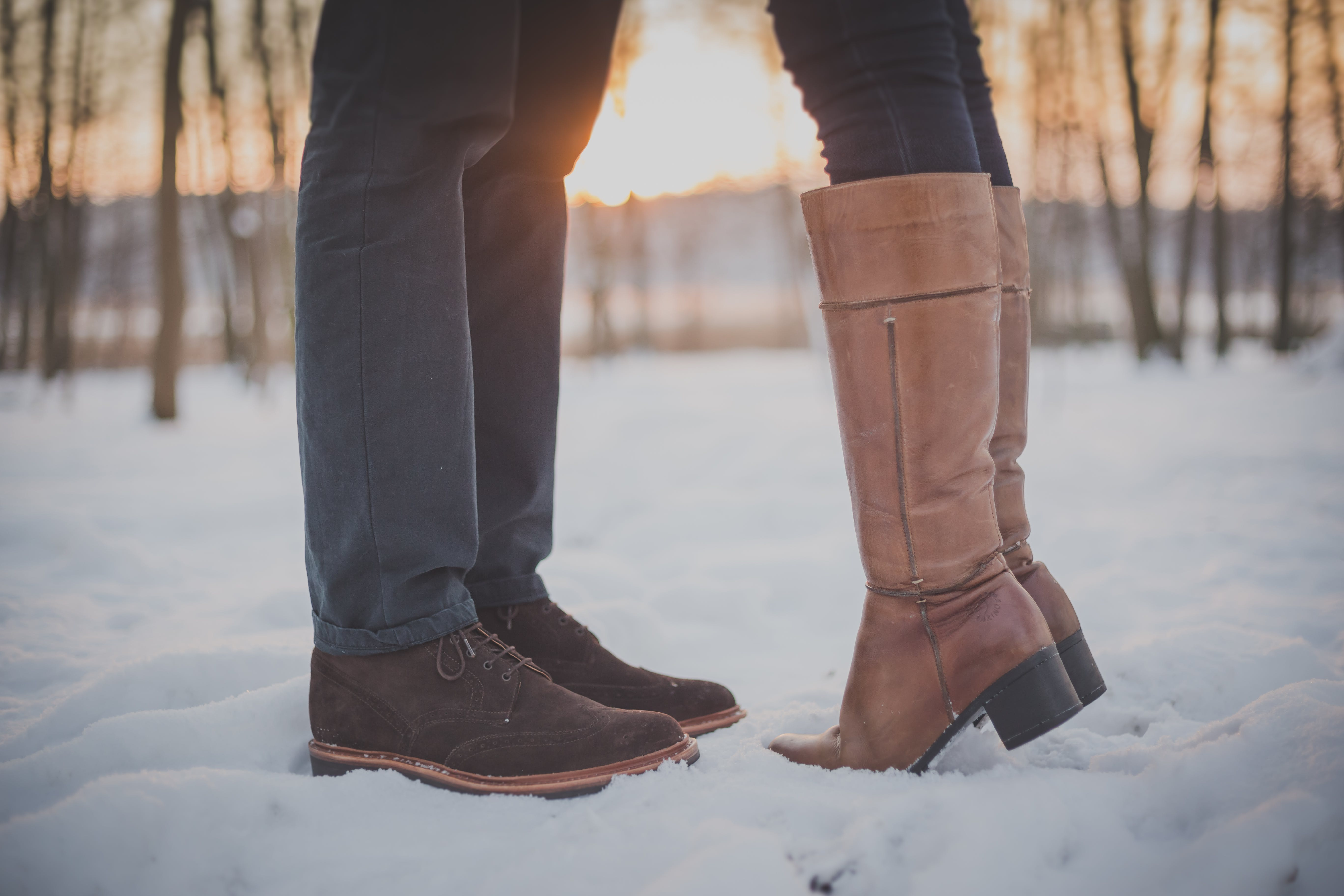 Two People Standing on Snow