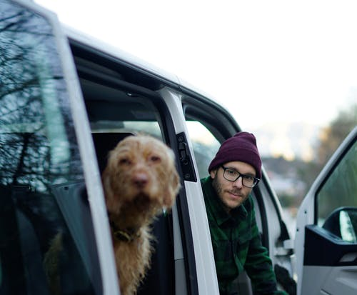 Man In Green Jacket And Knit Cap With Brown Long Coated Dog