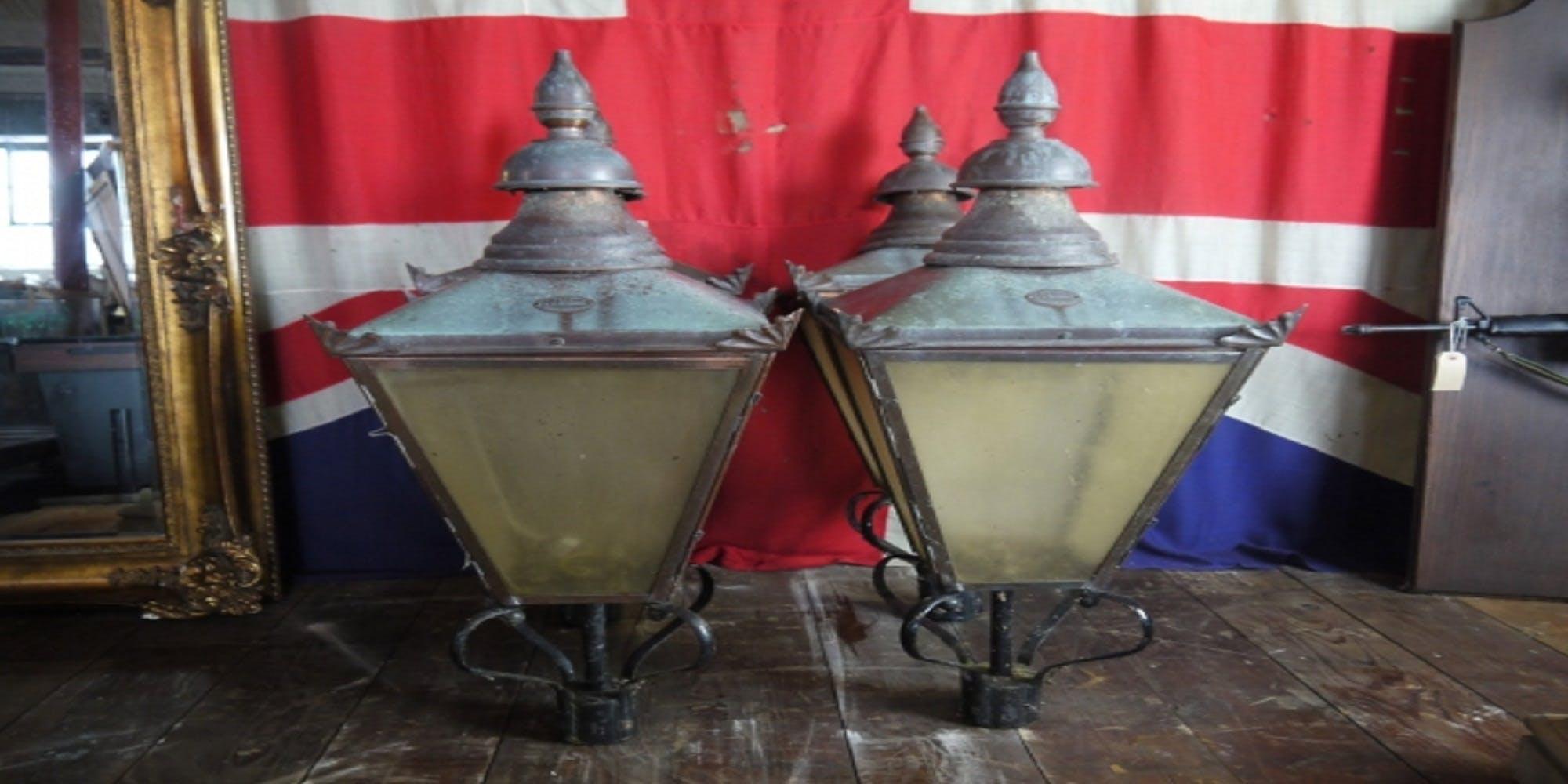 Antique DW Windsor Copper Lamp Post Lamp Top Lante