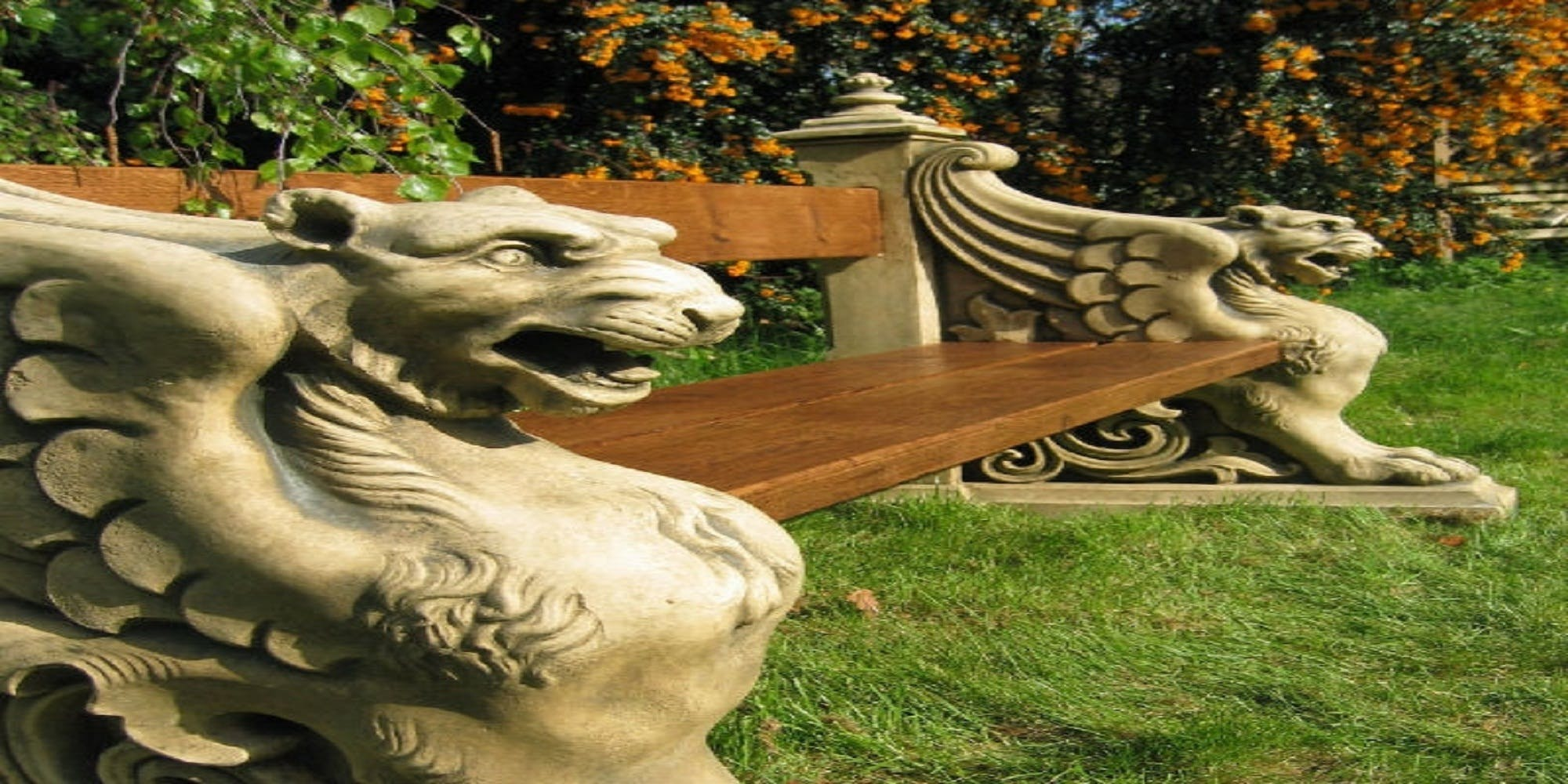 Free stock photo of Antique Stone Winged Lion Garden Park Bench