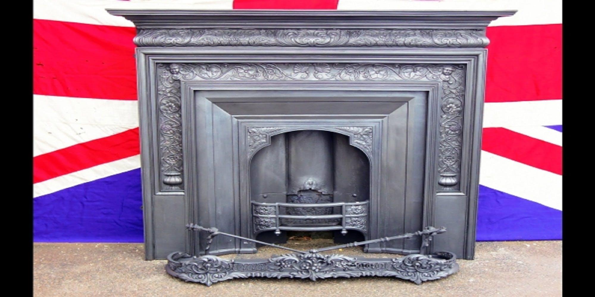 Victorian Cast Iron Coalbrookdale Fireplace Fire