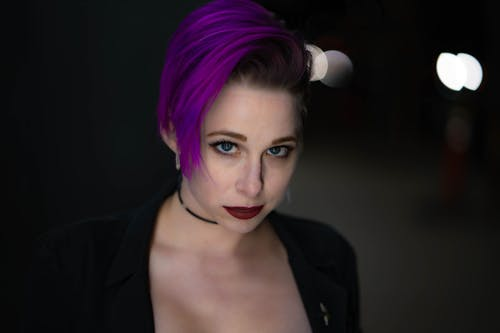 Woman in Black Blazer With Purple Hair