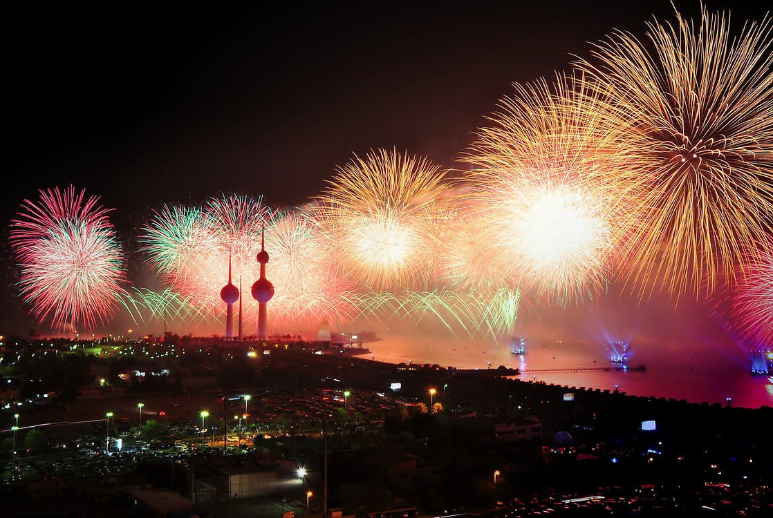 Aerial Photography of Assorted-color Fireworks at Night