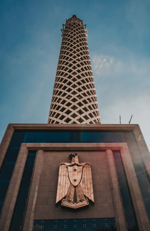 Famous Cairo Tower against blue sky