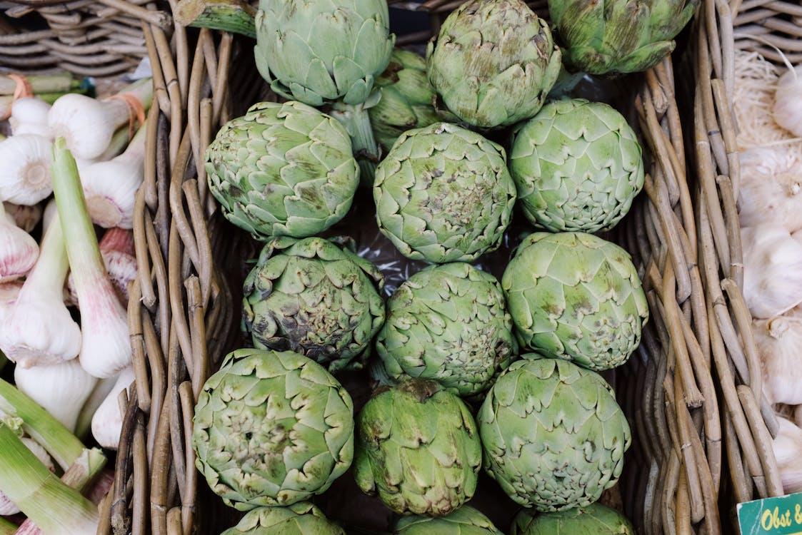 Organic green artichokes for sale in local market