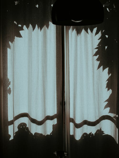 Window covered with white curtains at night