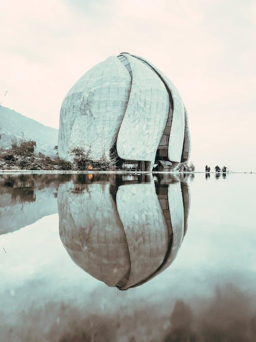 Futuristic exterior design of Bahai Temple in Santiago