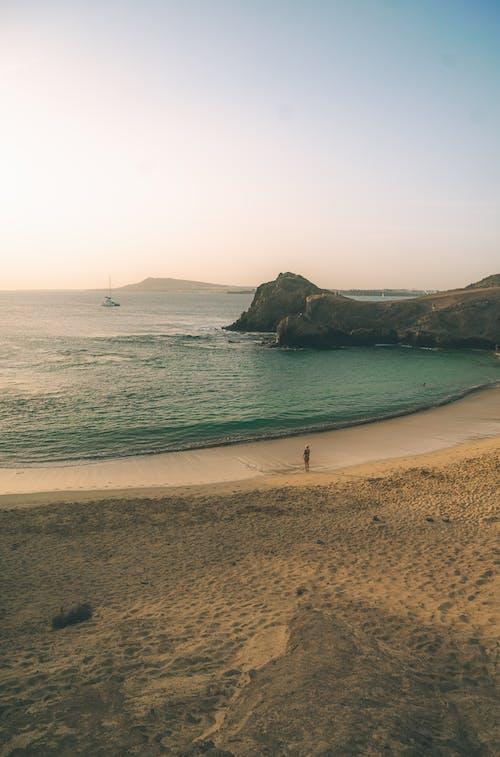 在沙滩上散步的人