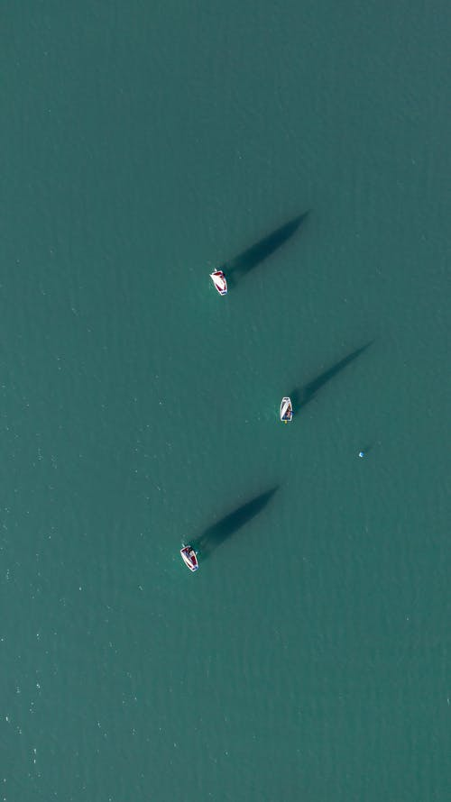 Aerial Shot Boats In The Middle Of The Ocean