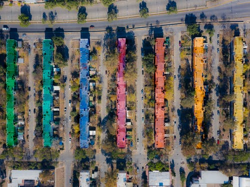 Aerial View Of Multi-Colored Roofs