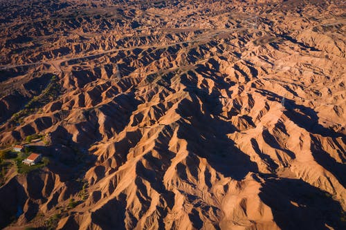 Aerial Shot Of Brown Mountains